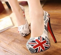 HOT SELL shallow mouth shoes Pumps color stitching waterproof Taiwan fine with the American flag high heeled shoes women