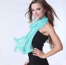 15 Colors Solid Color Plain Chiffon Scarf Fashion Women Long Silk Scarves Pashmina Wrap 60X170cm Free Shipping(China (Mainland))