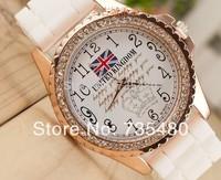Free Shipping Hot sale  England flag style  silicone quartz  men sports  wristwatch unisex   8 colors