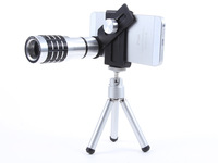 12x Zoom phone clip Optical Lens Mobile Phone Lens Telescope Camera For iPhone 5 5s Sumsung HTC New Universal Clip Lens