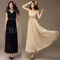 Ladies Long Evening Party Lace Vintage Chiffon Maxi Dress