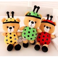 Free shipping 17cm mini 3 pcs sweet Lovely creative ladybug teddy bear plush pendant furnishing doll stuffed toy girl gift