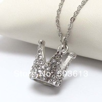 12 pieces/lot Fashion Costume Jewelry Dull-Silver/Gold Plated Crown Pendant/Charm Necklace Free Shipping! xy011