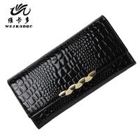 Vicat women's wallet 2014 genuine leather wallet female long design three fold wallet crocodile pattern wallet