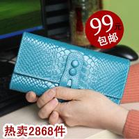 2013 crocodile pattern three fold wallet female long design genuine leather wallet card holder