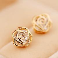 "Lo Yin home ""Fashion Jewelry Accessories camellia stud earring female zirconocene earrings earring bridal accessories"