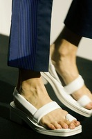 2014 spring and summer ruslana korshunova ac ne flip-flop square toe leather sandals flip-flop sandals