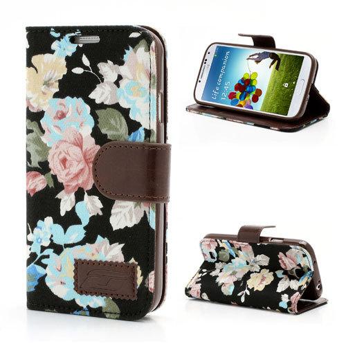 Телефон кожаный чехол для samsung i9500, Довольно Цветок Ткань Кожаный Бумажник Чехол для Samsung Galaxy S4 I9500 I9502