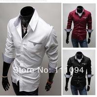 Men's clothing base free shipping 2014 Spring Slim Korean Fashion Long-sleeved shirts male big size black white wine redM-XXXL