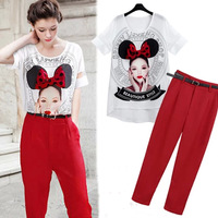 2014 spring and summer women's small fresh patchwork  top Shirt  print clothing +Nine Point Pencil  pant  casual set