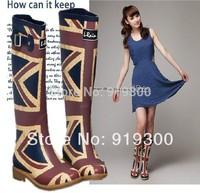 2014 New Women Girls Waterproof Rainboots British Style Blue Rubber Rain Boots Flat Heel Knee High Water Shoes High Quality #TS6