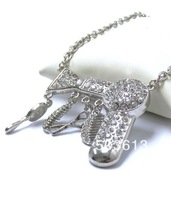 12pieces Fashion Dull Silver Plated Charm Jewelry Crystal Hair Dryer/Scissor/Comb Dangle Pendant Necklace Free Shipping! xy016