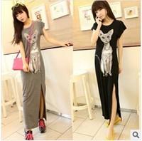2014 Hot sale New Arrival Fashion Women Short Sleeve Dress Ladies Long Modal Split Dresses Cute Cat Full-Length Y03052