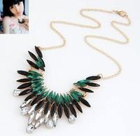 Min order 10USD(Mix order) SJB487 New 2014 Fashion Hot Selling Water Drop Big Gem Stone choker statement necklace wholesale