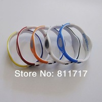 On Sale 100pcs/lot 2 Side Colors Silicone Power Bracelet Sports Power Energy Wristband With Retail Box Free Shipping
