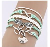 ( Min order is 10usd !) SJB485 Charm leather leaf bracelets & bangles wholesale Free shipping