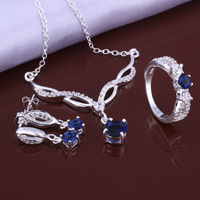 New 2014 925 Sterling Silver jewelry set,925 Silver fashion jewelry set blue gem Charm necklaces&pendants+Earrings+Ring Set S639