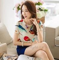 New 2014 spring summer women Chiffon base Blouse printing animal bird short sleeve Korea Fashion shirts loose plus size S-L