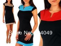 Free Shipping 2014 New Elegant V-Neck Fashion Celebrity Pencil Summer Women Wear to Work Slim Patchwork Party Bodycon Dress