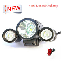 3000LM 10W CREE 3 Head XML T6 LED Bicycle Bike Light Flashlight Head Lamp 2 in 1