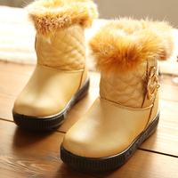 2014 Promotion Hot Sale Lavender Mid-calf Rubber Winter Child Snow Boots Rabbit Patent Plaid Male Female Waterproof Warm Cotton