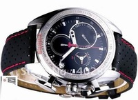 Men's Date T Sport Racing Black Dial Watch Men Leather Watches Chronograph Wristwatch