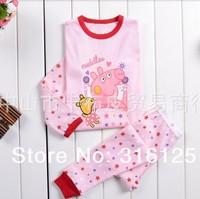peppa pig 2-7T baby & kids pajama sets for  girls children's baby clothing sleepwear fashion 2014 spring free shippping