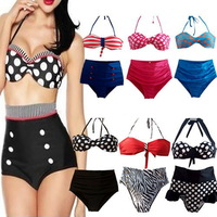 SEXY High Waist Women's Bikinis Sets Dots Fringe Padded Push Up Swimsuit Underwire Bandeau Swimwear Halter Top Bathing Suit