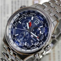 FREE SHIPPING Chronograph Eco-Drive World time AT0365-56L Mens Watch waterproof WATCH with gift box