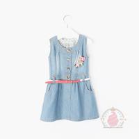 Ice cream cone children's clothing 2014 female child denim sleeveless one-piece dress vest belt