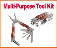 Foldable pocket tool kit stainless steel pliers knife torch