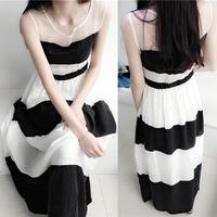Fashion slim black and white stripe patchwork princess one-piece dress elegant full dress fairy