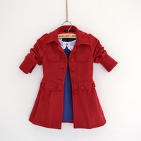 2013 new  kids  girl winter  autumn jackets   girl  outwear & coats   trench big red  for party dress brand new