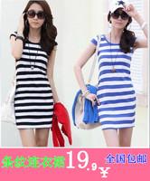 Net 2014 1 9.9 women's stripe slim one-piece dress female