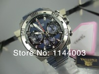 2014 NEW free shoping Festina Men's Chronograph Navy blue Dial Date Bike Tour de France Steel Bracelet Date Watch F16658
