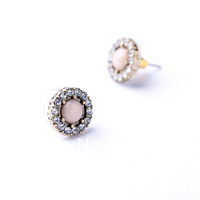 Brass Plated Brand Name Crystal Stud Women Earrings 2014 New Jewerly Free Shipping