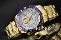 Luxury Men's White Dial Blue Bezel Perpetual Watch Gold Yacht Master II Mechanical Dive Watches Mens Wristwatch