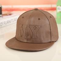 2014 Cotton Hat male women's summer leather ny flat along the cap baseball cap hip-hop cap hiphop cap  Free shipping