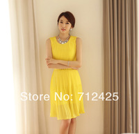 spring and summer fashion women's solid color chiffon gentlewomen slim elegant pleated sleeveless one-piece dress + Belt