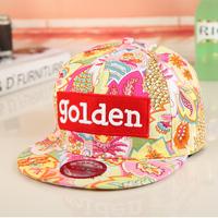 2014 Cotton Hat women's summer golden embroidery letter flat along the cap baseball cap hiphop cap flat brim  Free shipping