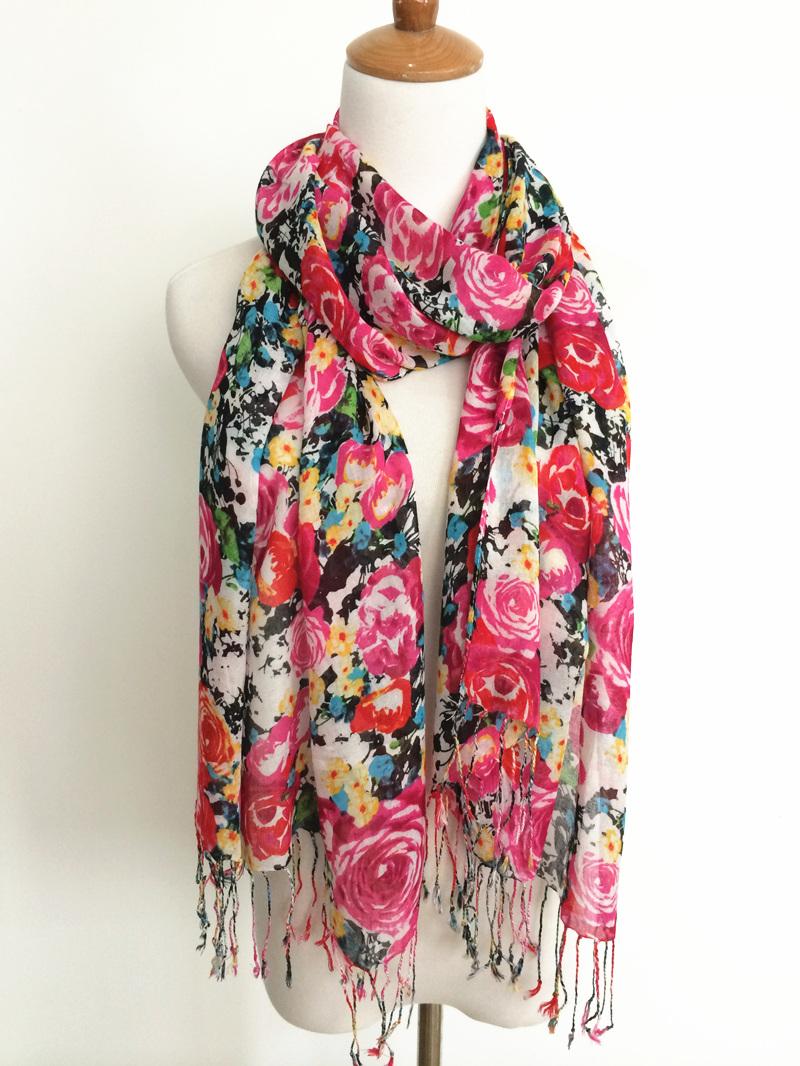 Rayon fiado doce rosa de impressão lenço lenço de seda capa 2014 primavera e verão moda lenço de flores das mulheres(China (Mainland))