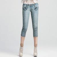 Angelcitiz 2014 spring roll up hem embroidered capris jeans female 62130335 flash