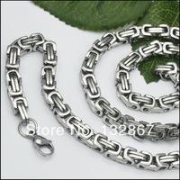 20''-40'' Stainless steel 8mm Byzantine Box Link Necklace Bracelet Men's Jewelry fashion Gifts