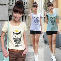 plus size M-XXL new arrival 2015 fashion roupas femininas 100% cotton OWL print geek t shirt tops for women t-shirts C370