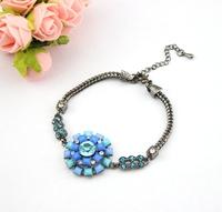 high quality 2014 new design fashion elegant big blue resin flower rhinestone chain bracelet for women party