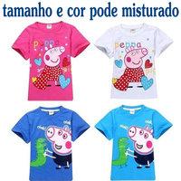 New 2014 children outerwear peppa pig children t shirts boys t shirt atacado roupas infantil cartoon girl t shirt free shipping