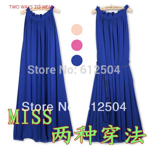High quality super cheap 2014 bohemiabeach dress solid color ruffle collar plus size chiffon dress female two ways to wear(China (Mainland))