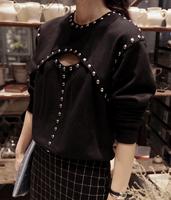 Fashion vintage rivet beads sexy cutout punk personality long-sleeve basic t-shirt sweatshirt