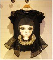 Organza patchwork 2014 doll t-shirt female short-sleeve slim small butterfly sleeve skirt