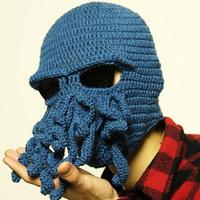 new 2014 Novelty Handmade Knitting Wool Funny Beard Octopus Hats caps Crochet knight Beanies For men Unisex Gift